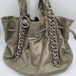 Michael Kors Silver Gray Leather Cinch Shoulder Ba